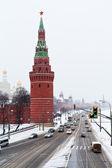 Widok na kreml nasyp w zimie śnieg dzień — Zdjęcie stockowe