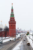 View of Kremlin Embankment in winter snowing day — Stock Photo