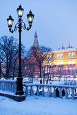 Akşam, moskova kar kış bahçesinde alexander görünümünü — Stok fotoğraf