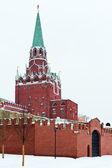 View of Kremlin Troitskaya Tower in winter snowing day — Stock Photo