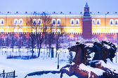 View of Alexander Garden in blue snowing evening, Moscow — Stock Photo