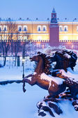 Fountain on Manege square, Moscow in winter — Stock Photo