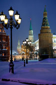 Kremlin towers in winter snowing evening, Moscow — Stock Photo