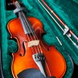 Fiddle with bow in green velvet box — Stock Photo #20043149