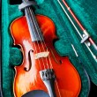 Fiddle with bow in green velvet case — Stock Photo