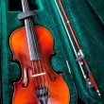 Violin with bow in green velvet case — Stock Photo #20043179
