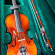 Small violin with bow in green velvet case — Stock Photo #20043181