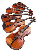 Different sized violins close up — Foto Stock
