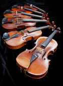 Different sized violins on black velvet — Stock Photo