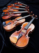 Different sized fiddles on black — Stock Photo