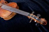 Violin pegbox on black velvet — Stock Photo
