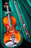 Small violin with bow in green velvet case — Stock Photo