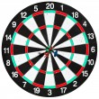 Stock Photo: Used dart board with three arrows
