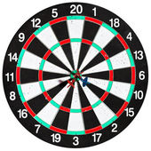 Used dart board with three arrows — Stock Photo
