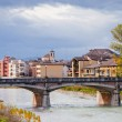 Stock Photo: Panoramwith Parmstream and Ponte Verdi