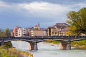 Panorama with Parma stream and Ponte Verdi — Stock Photo