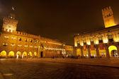 Piazza Maggiore with Accursio Palace and Palazzo del Podest — Stock Photo