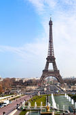 Panoramic view of eiffel tower in Paris — Stock Photo