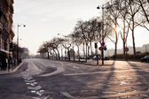 码头上日落巴黎 branly — 图库照片