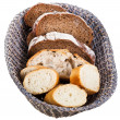 Basket with bread pieces — Stock Photo
