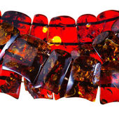Strings of amber necklace — Stock Photo