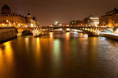 Night panorama of Seine river in Paris — Stock Photo