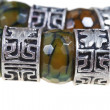 Arabic silver and jade beads close up — Stock Photo