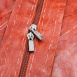 Metal runners of zipper on hide clothing - Stock Photo