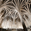 Arch ceiling of medieval chapel - Stock Photo
