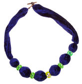 Top view of dark blue velvet necklace — Stock Photo