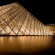 Glass Pyramid of Louvre, Paris at night — Stock Photo