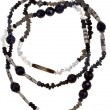 Transparent and black stone and bone necklace - Photo