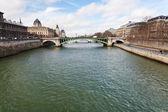 Seine river und pont notre-dame in paris — Stockfoto
