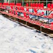 Red broken plastic seats — Stock Photo
