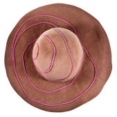 Top view of brown broad-brim felt hat — Stock Photo
