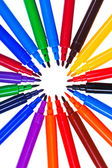 Circle of varicolored felt pens — Stock Photo