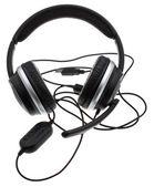Czarny słuchawki z portu usb — Zdjęcie stockowe