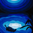 Moon reflection in blue sea water at night — Stock Photo #25232429