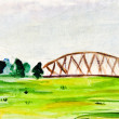 Child's paiting - lansdscape with railroad bridge — Stock Photo