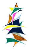 Geometric triangular objects drawn — Stock Photo