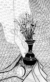 Dried plants in metal jug — Stock Photo
