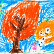 Child's drawing - orange autumn trees — Stock Photo #25243843