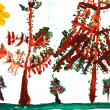 Child's drawing - spruce trees in summer day — Stock Photo