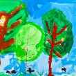 Child's painting - green trees — Stock Photo