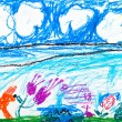 Child's drawing - fox on summer lawn — Stock Photo