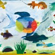 Child's painting - fishes in sea — Stock Photo