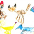 Stock Photo: Child's drawing - domestic animals