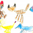 Child's drawing - domestic animals — Stock Photo