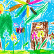 Child's drawing - summer lawn with tree and flowers — Stock Photo #25244649