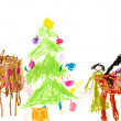 Child's drawing - family Christmas dinner - Stock Photo